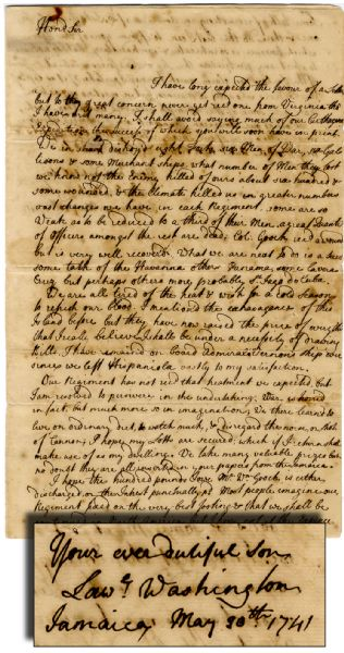 Outstanding Letter by Lawrence Washington - Brother of George Washington to their Father with Fascinating Content