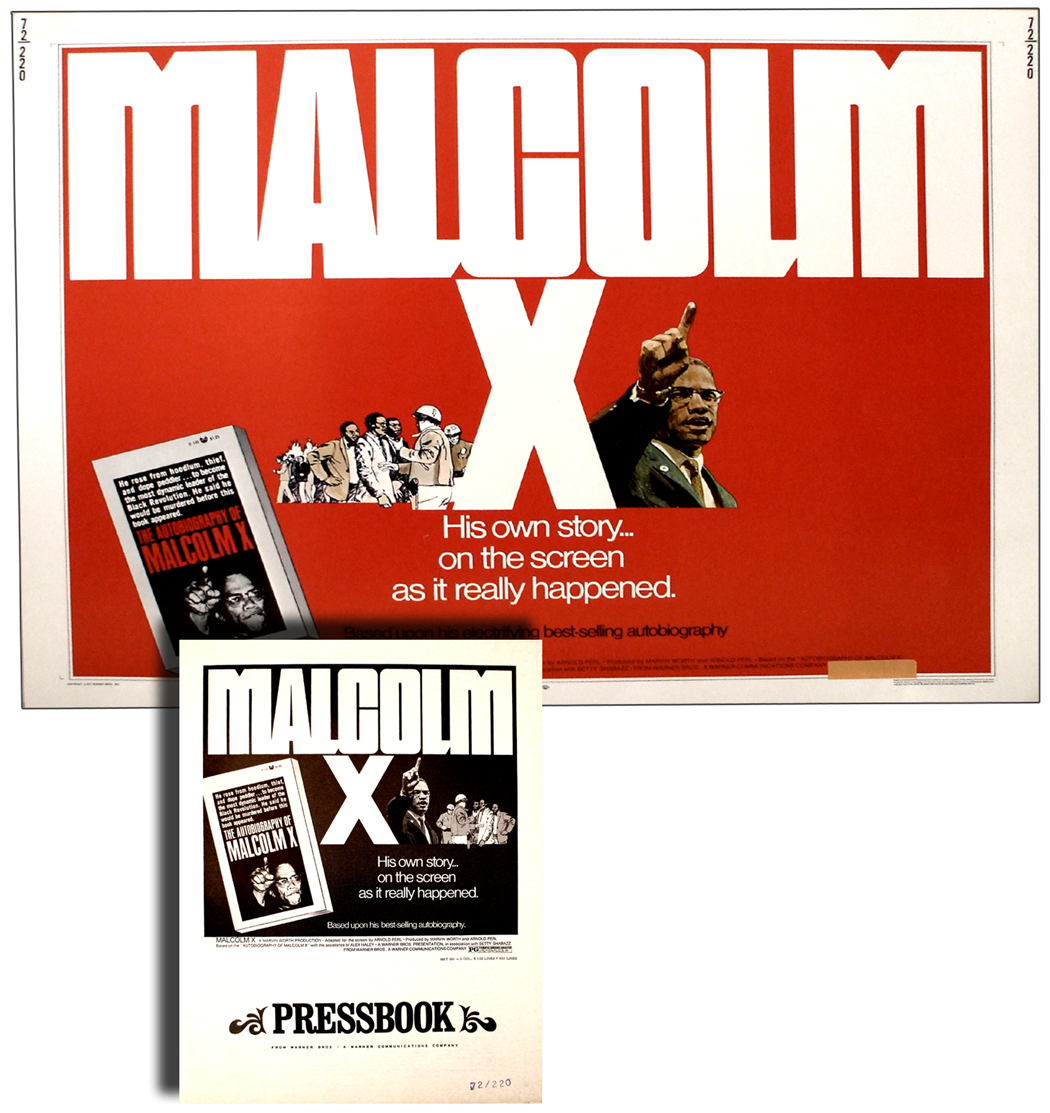 Original 1972 Malcolm X Movie Poster And Related Pressbook