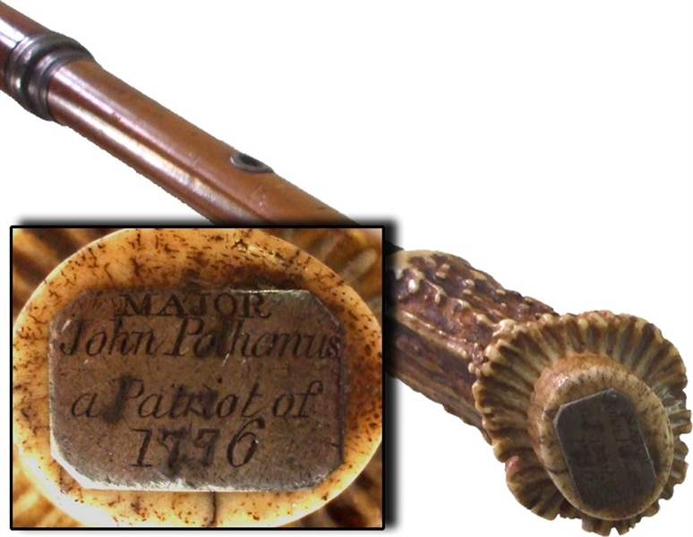 1776 ID'd Patriot Officers Cane Owned By Major Polhemus