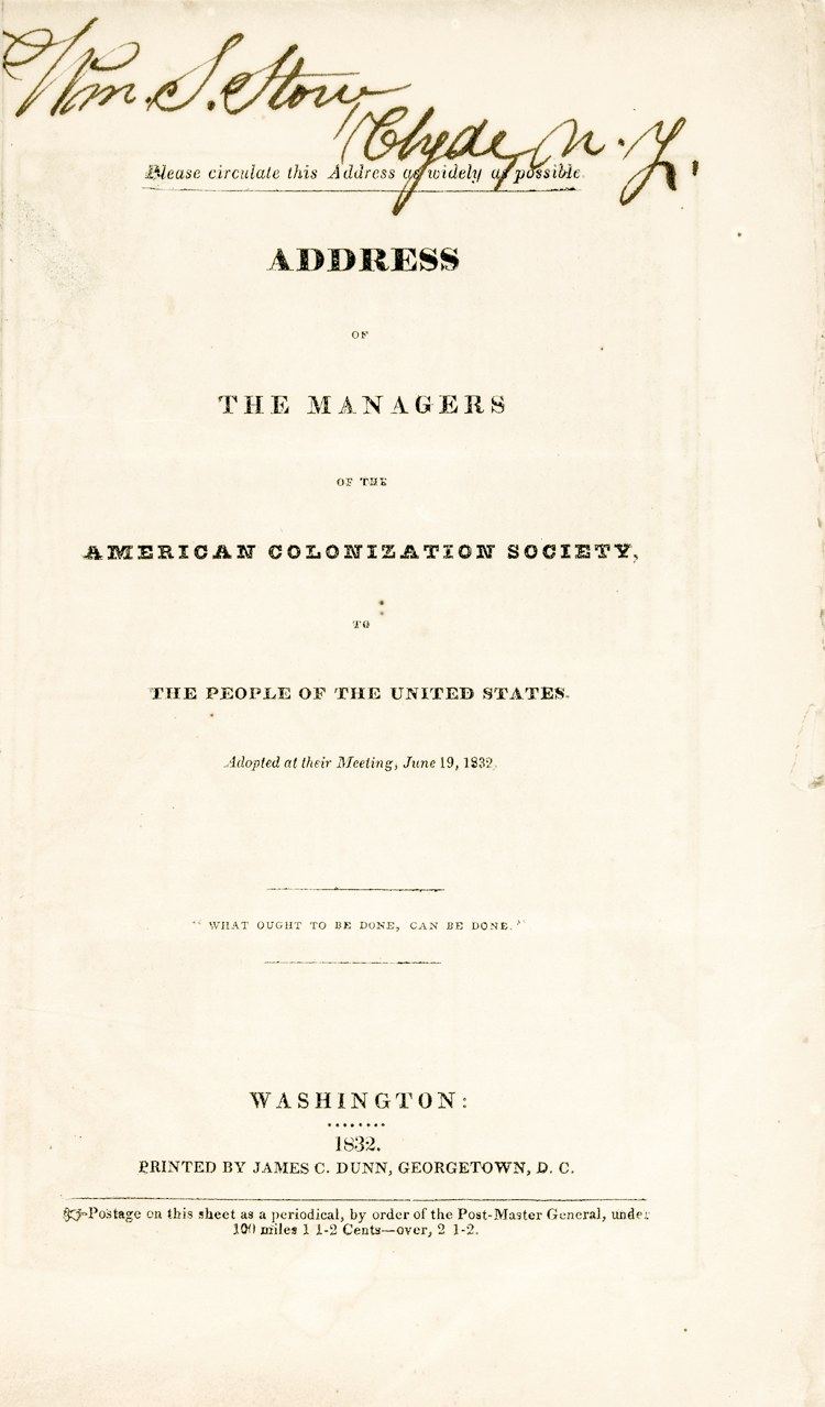 american colonization society essay Slavery and anti-slavery terms essays slavery and anti-slavery soon after the founding of the prestigious american colonization society.