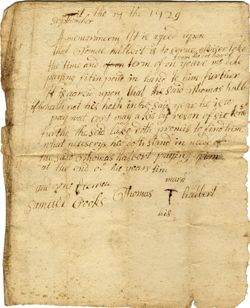 Lot Detail - 1729 Agreement of Service for One Year