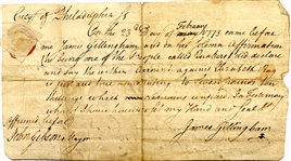 Philadelphia Colonial Document Signed By Noted Furniture Maker, James Gillingham