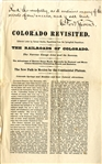 Advertising Circular: Colorado Railroad Revisited ca. 1871