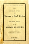 The Secession of South Carolina and the Ordinance of Secession